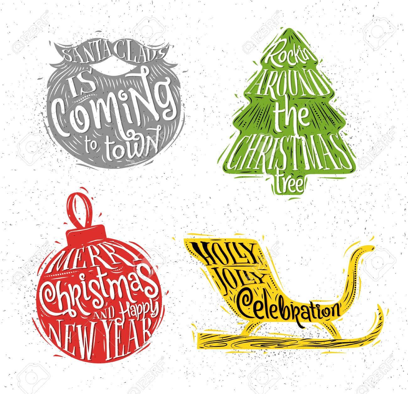 Rockin Around Christmas Tree.Christmas Vintage Silhouettes Santa S Beard Christmas Tree