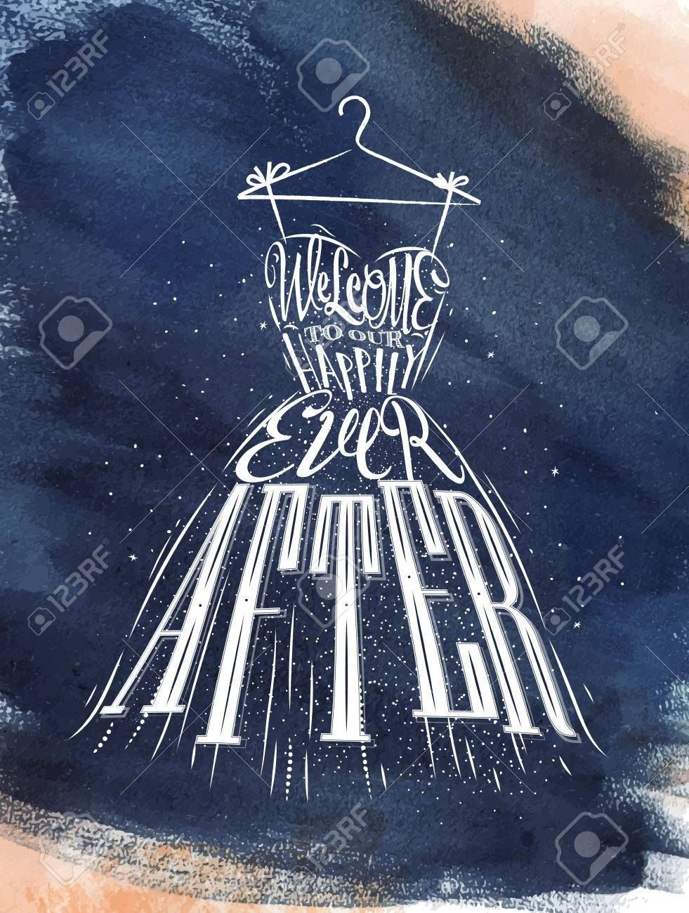 Poster Wedding Dress Lettering Welcome To Our Happily Ever After ...