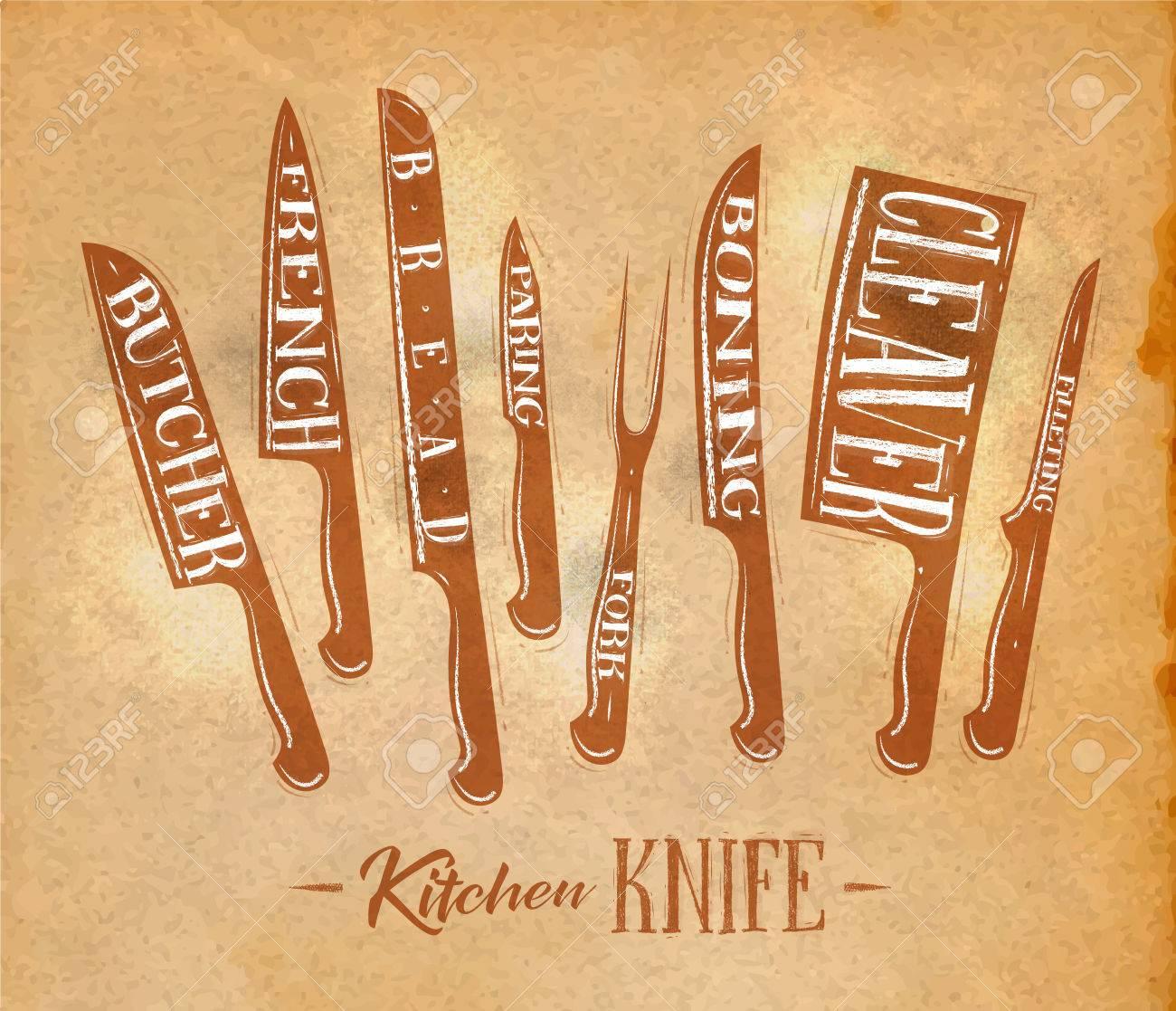 Poster Küche Fleisch Schneiden Messer Metzger, Französisch, Brot ...