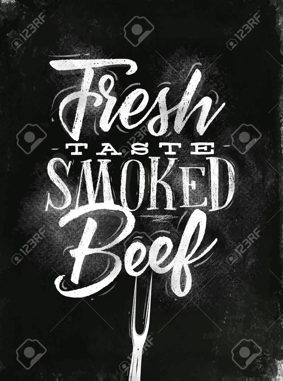 Poster Lettering Fresh Taste Smoked Beef Drawing In Vintage Style With Chalk On Chalkboard Background