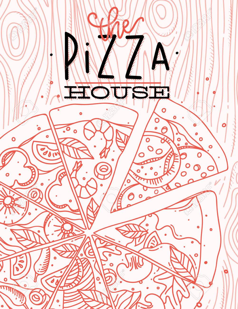 Poster Lettering The Pizza House Drawing With Coral Lines On ... on web design lines, clip art lines, white design lines, geometric design lines, background design lines, designs using lines, designs of lines, graphic water wavy lines, art design lines, layout design lines, graphic arts, graphic lines bars, fashion design lines, 2d design lines, graphic designs swirls, packaging design lines, simple design lines, logo design lines, bold design lines, classic design lines,