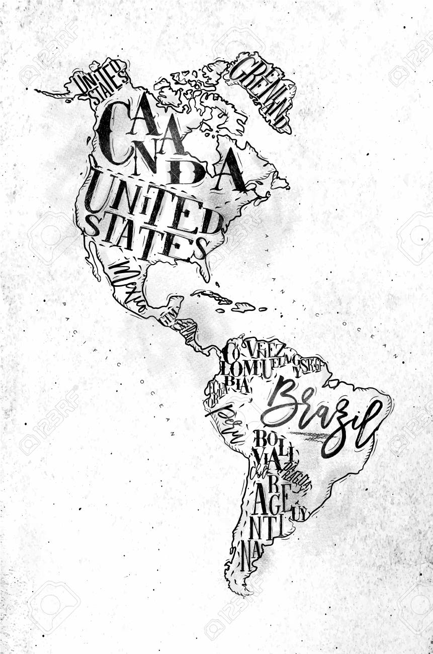 Vintage America Map With Country Inscription United States, Canada ...