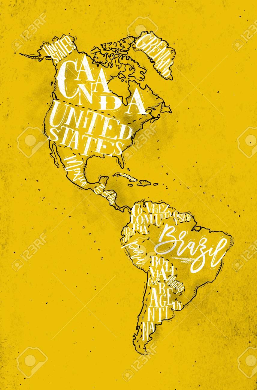 Bresil Mexique Carte.Carte Vintage D Amerique Avec L Inscription Du Pays Etats Unis Canada Mexique Bresil Perou Argentine Dessin Jaune Fond