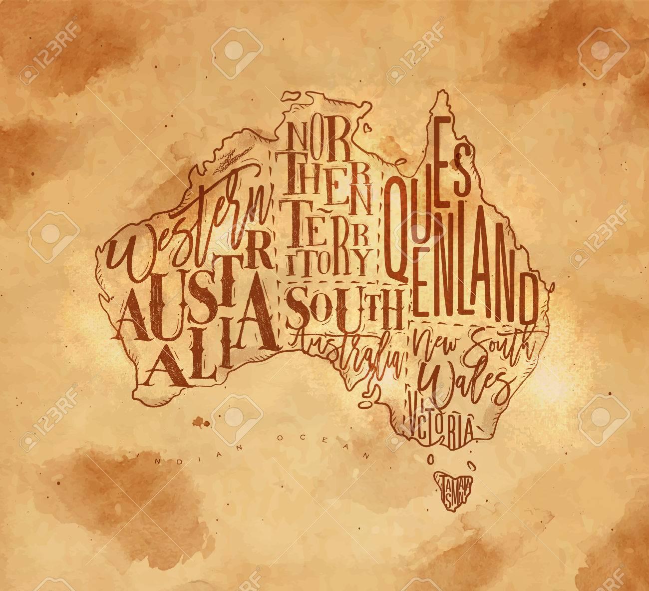 Map Of Northern Victoria Australia.Vintage Australia Map With Regions Inscriptionwestern Northern