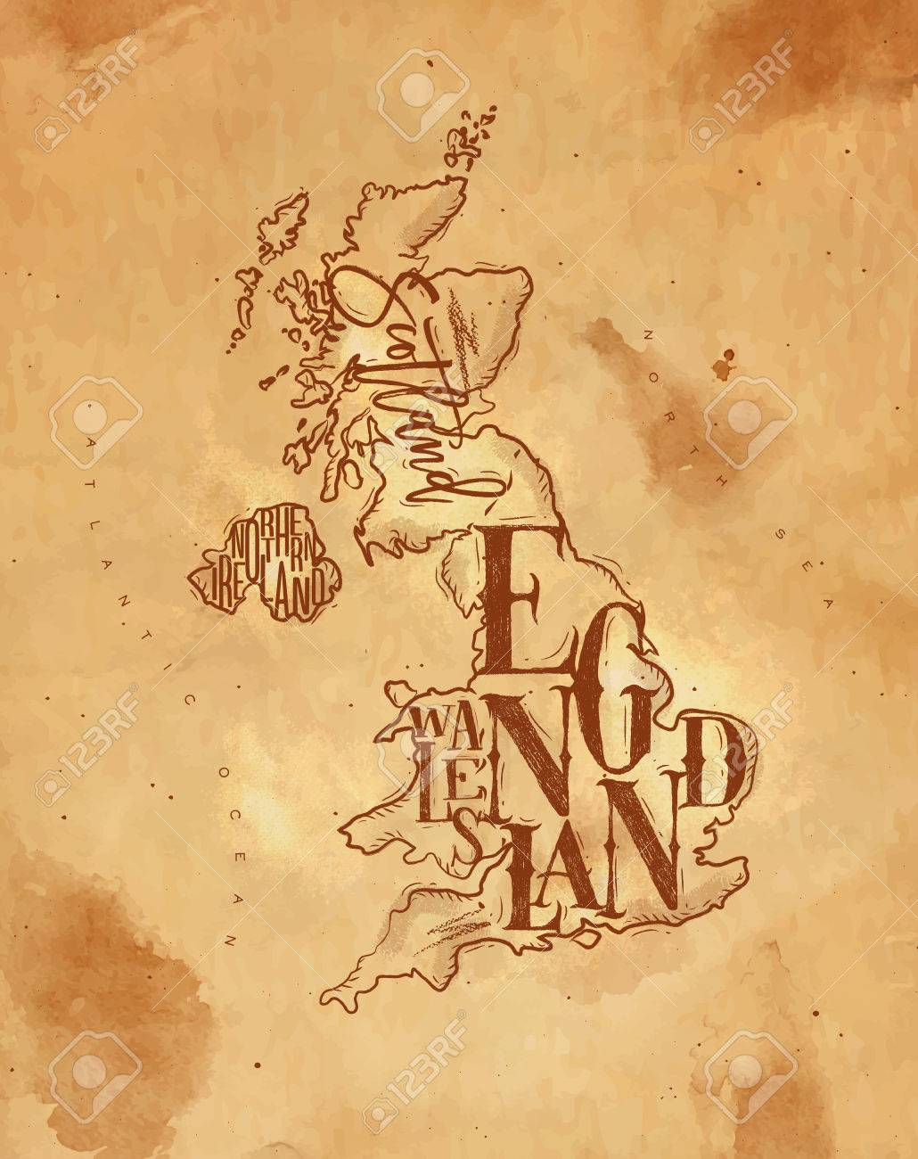 Map Of Ireland And Wales.Vintage United Kingdom Map With Regions Inscription Scotland