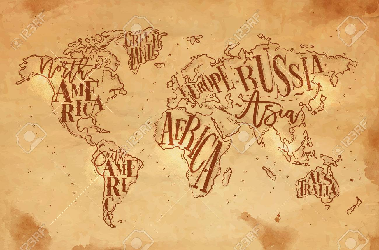 Vintage worldmap with inscription greenland north america south vector vintage worldmap with inscription greenland north america south america africa europe asia australia russia drawing on craft background gumiabroncs Images