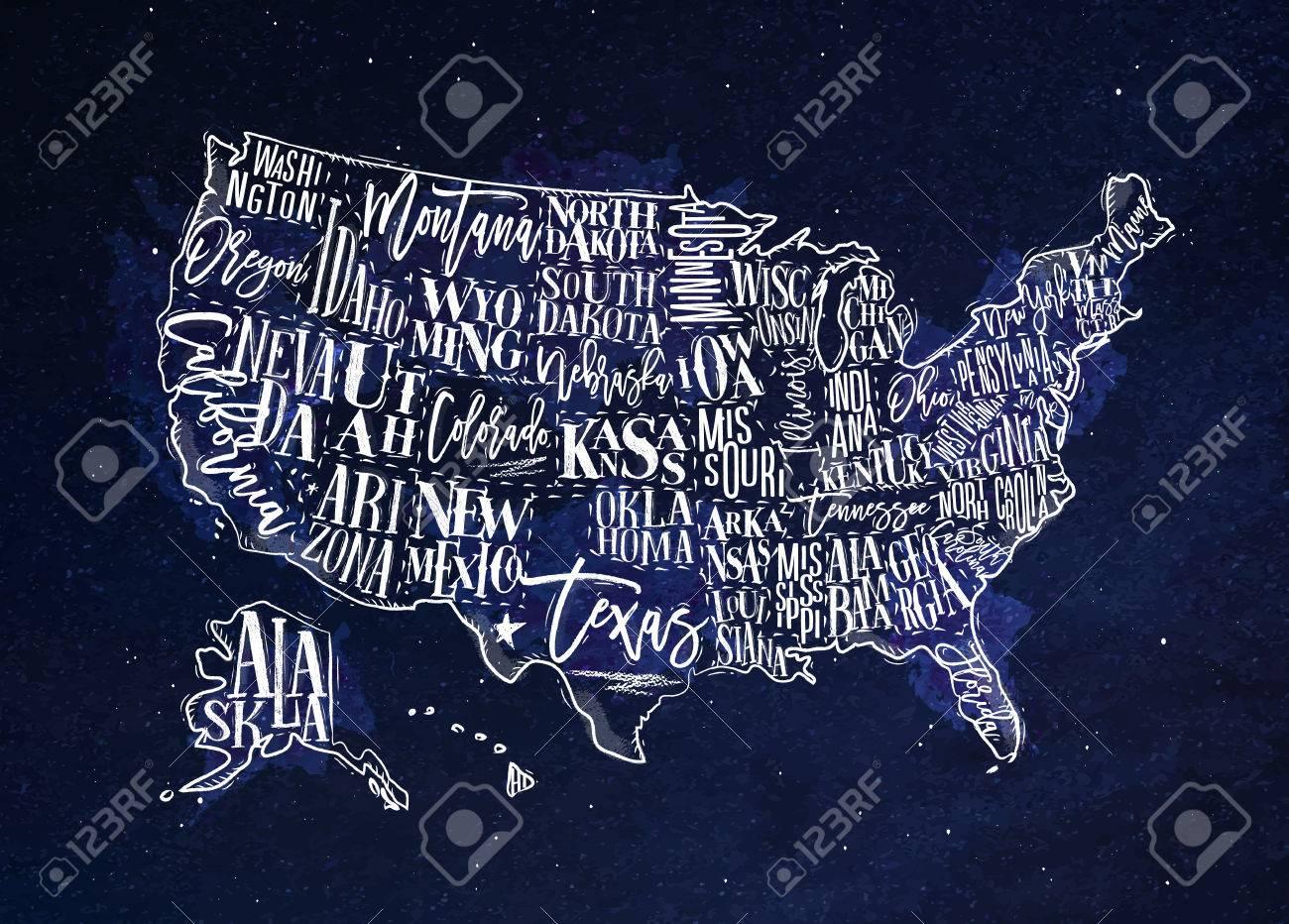 Map Of Nevada And Arizona Usa.Vintage Usa Map With States Inscription California Florida