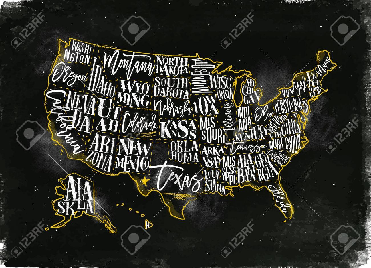 Vintage Usa Mapa Con Estados Inscripcion California Florida Washington Texas Nueva York Kansas Nevada Tennessy Missouri Arizona Illinois Oregon Louisiana Dibujo Con Tiza Y Amarillo Ilustraciones Vectoriales Clip Art Vectorizado Libre De