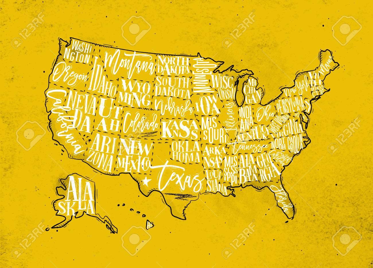 Vintage Usa Map With States Inscription California Florida - Nevada usa map
