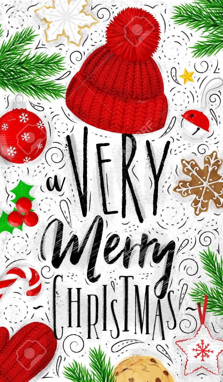 Christmas Drawing.Christmas Poster Lettering A Very Merry Christmas Drawing In