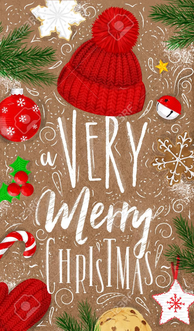 Very Merry Christmas.Christmas Poster Lettering A Very Merry Christmas Drawing In