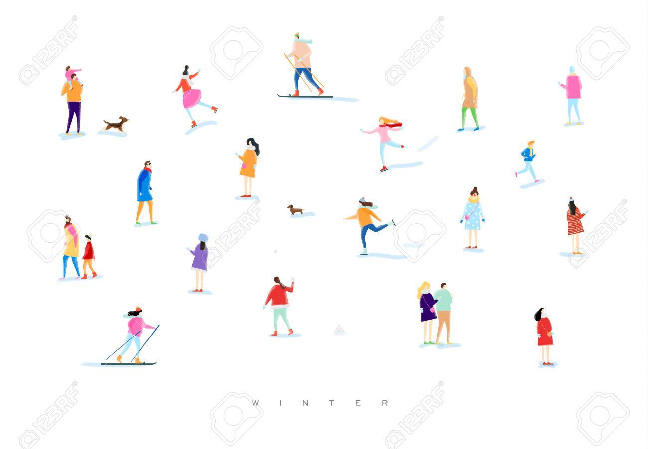Illustrated people on a winter walk, playing snowball, skiing, skating, playing with kid and dog, lovers walk drawing with color on white background - 86905609