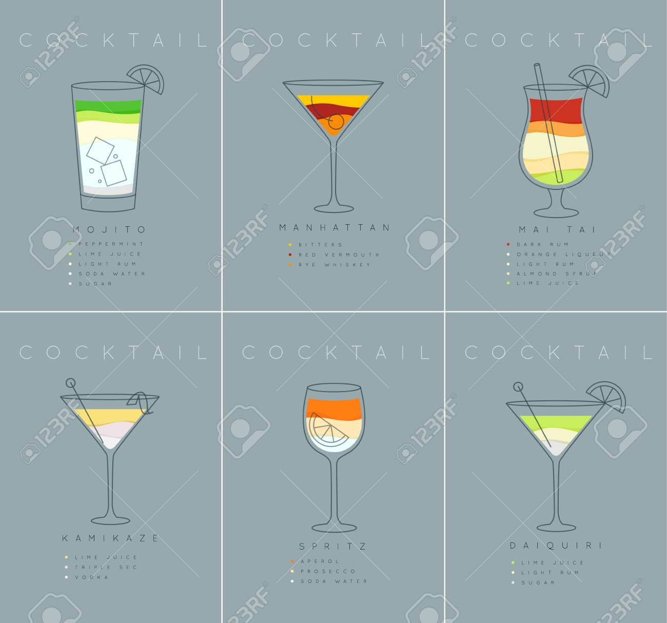 Set Of Flat Cocktail Posters Mojito Manhattan Mai Tai Kamikaze Royalty Free Cliparts Vectors And Stock Illustration Image 96393727