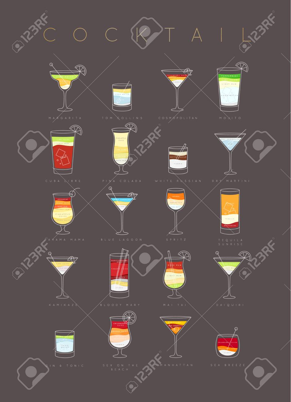 Poster Flat Cocktails Menu With Glass Recipes And Names Of Cocktails Royalty Free Cliparts Vectors And Stock Illustration Image 96393728