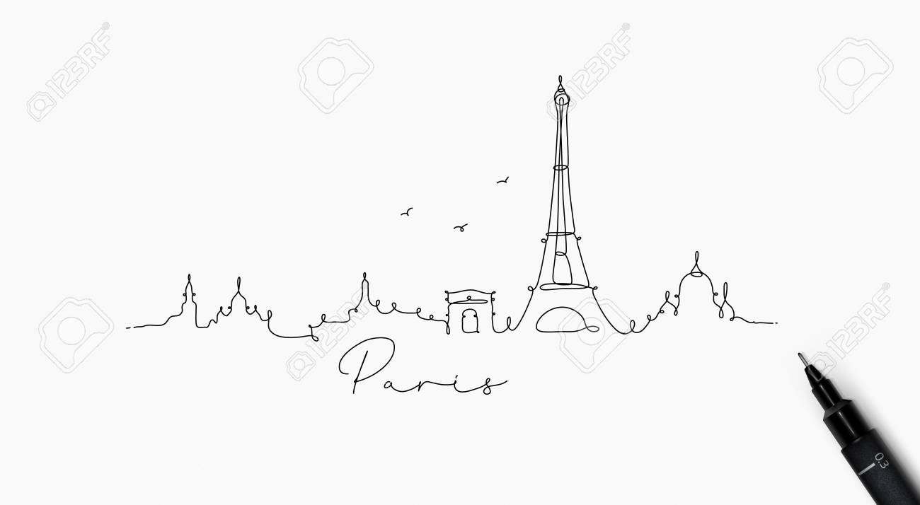City Silhouette Paris In Pen Line Style Drawing With Black Lines Royalty Free Cliparts Vectors And Stock Illustration Image 99109706