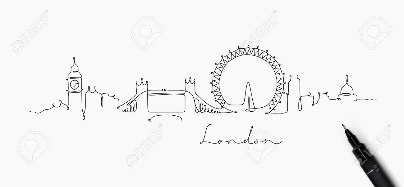 City silhouette london in pen line style drawing with black lines on white background - 99109766