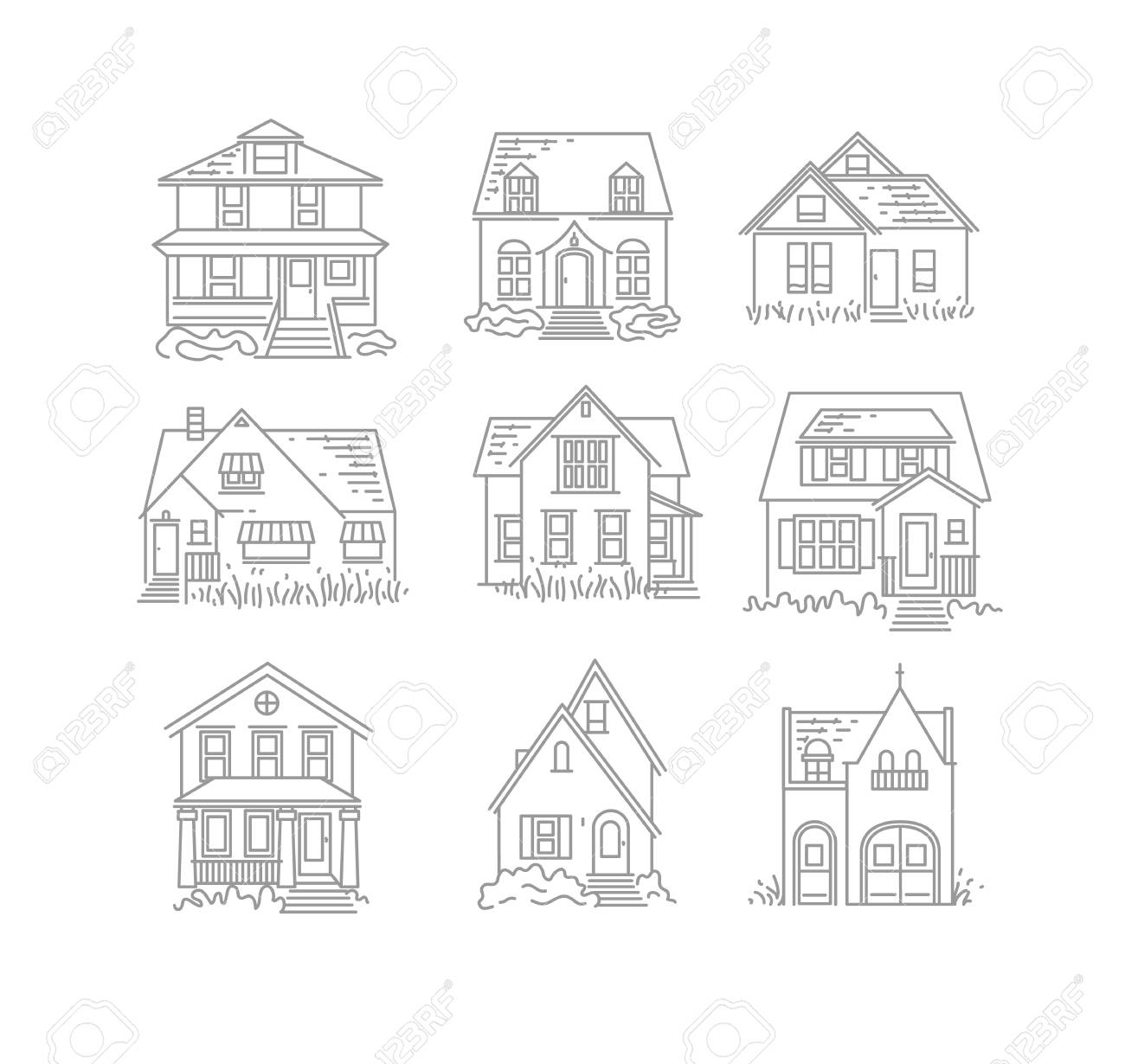 Set of house different forms icons drawing in flat style on white background - 112287361