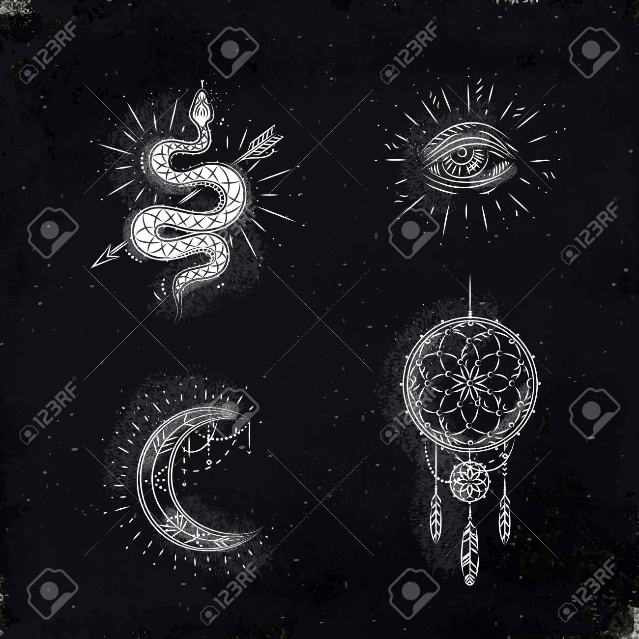 Magic and mystic signs and symbols snake, eye, moon, dreamcatcher drawing with chalk on chalkboard - 126561553