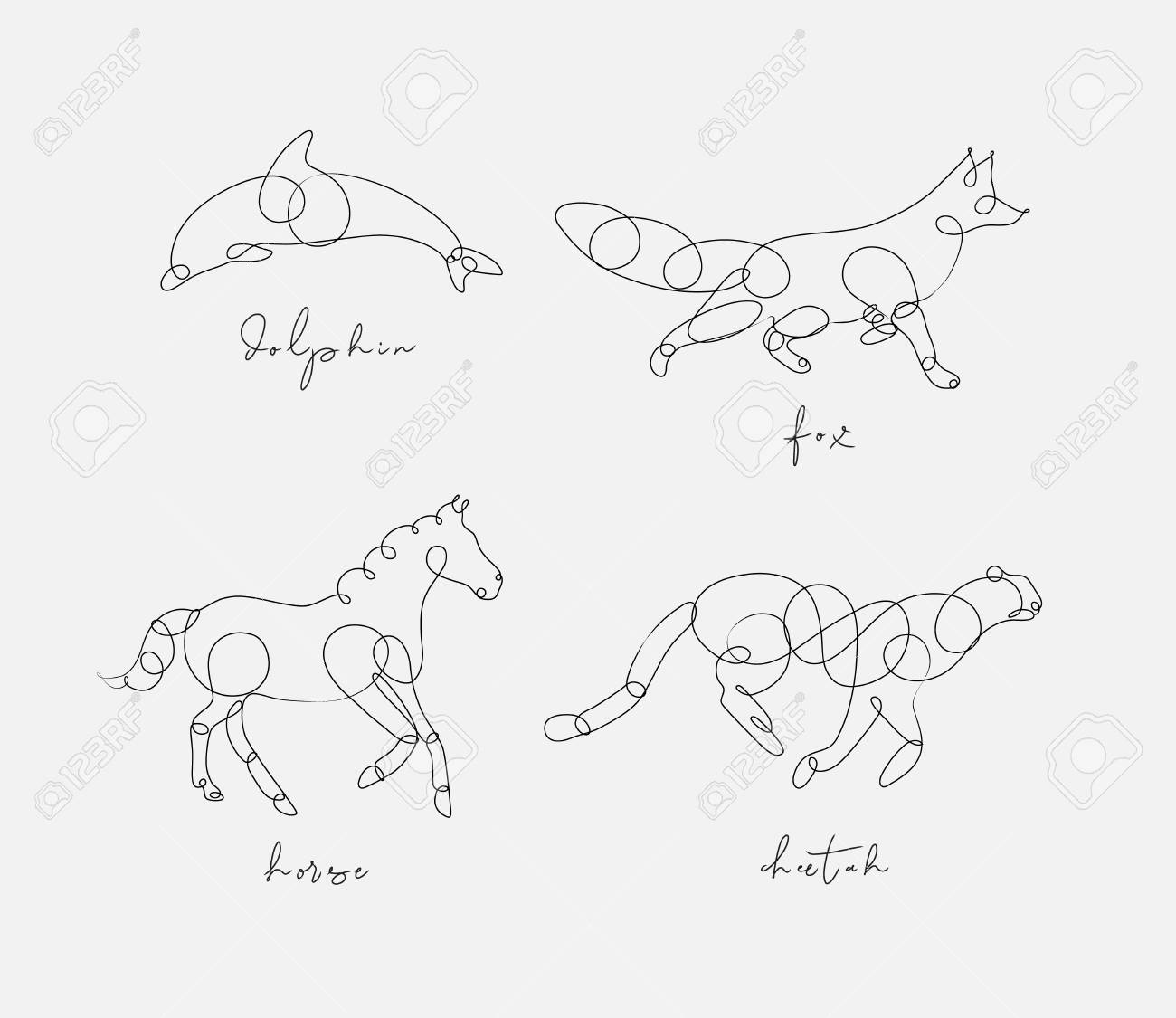 Set of animals dolphin, fox, horse, cheetah drawing in pen line style on light background - 115436365