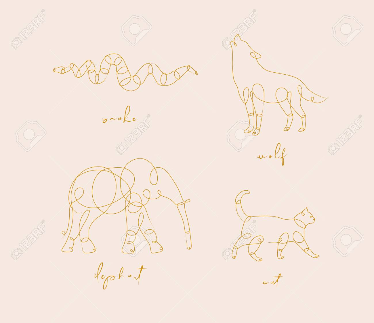Set of animals snake, wolf, elephant, cat drawing in pen line style on beige - 116941457
