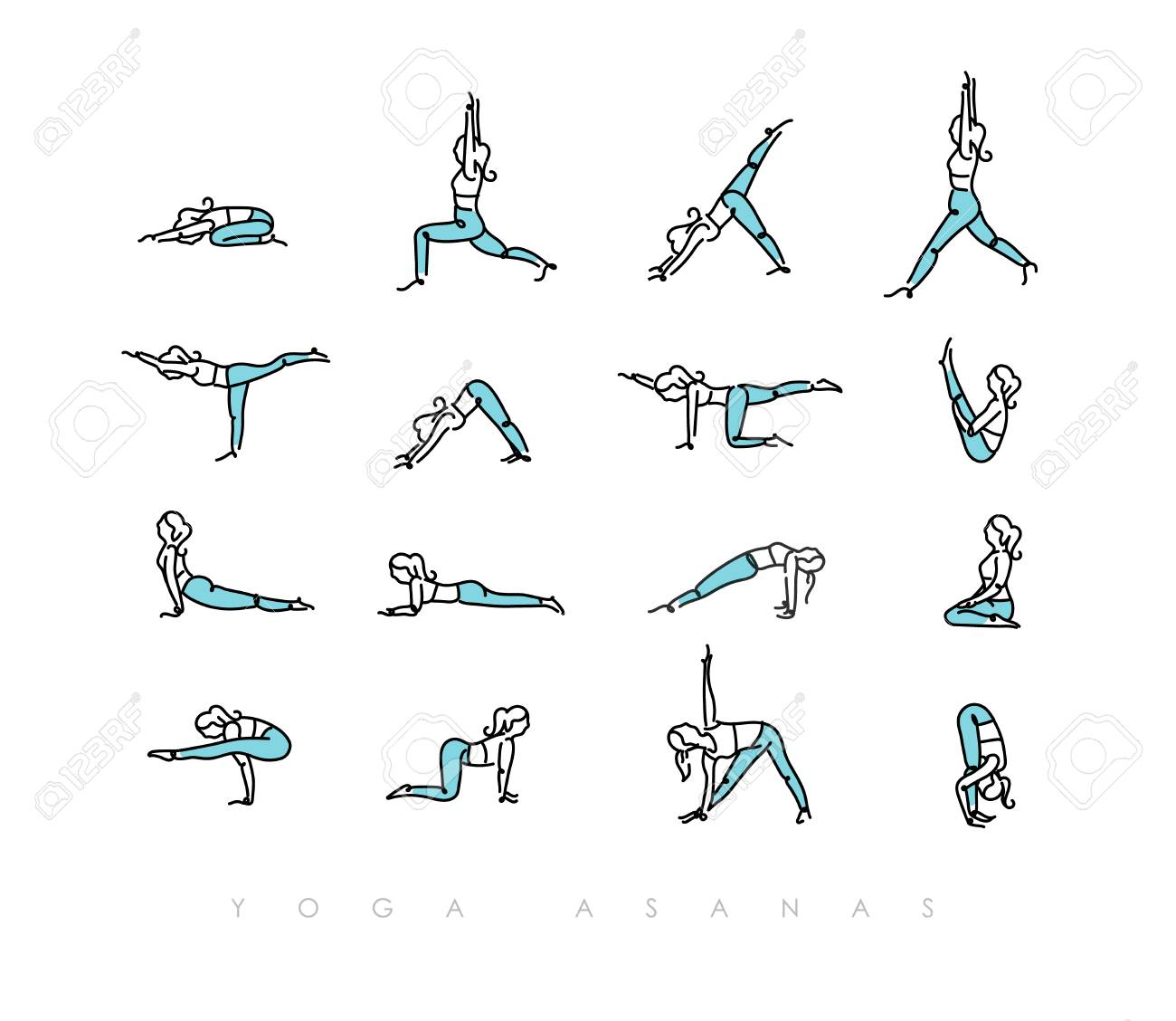 Pen Line Hand Drawing Girls In Yoga Asanas In Light Style Drawing Royalty Free Cliparts Vectors And Stock Illustration Image 125294243