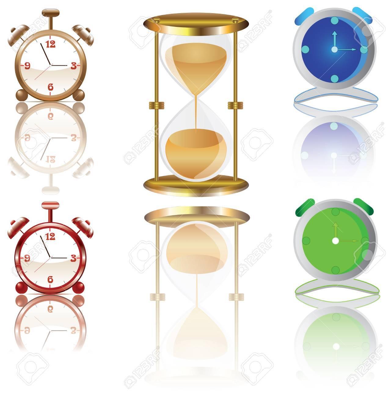 Alarm clock,watch,hourglass Stock Vector - 16185168