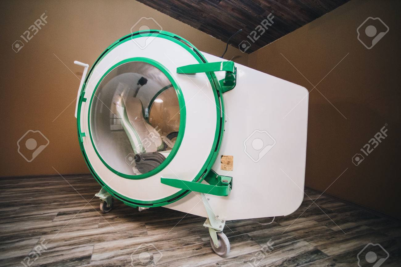 Exterior of hyperbaric recompression chamber  A hyperbaric chamber