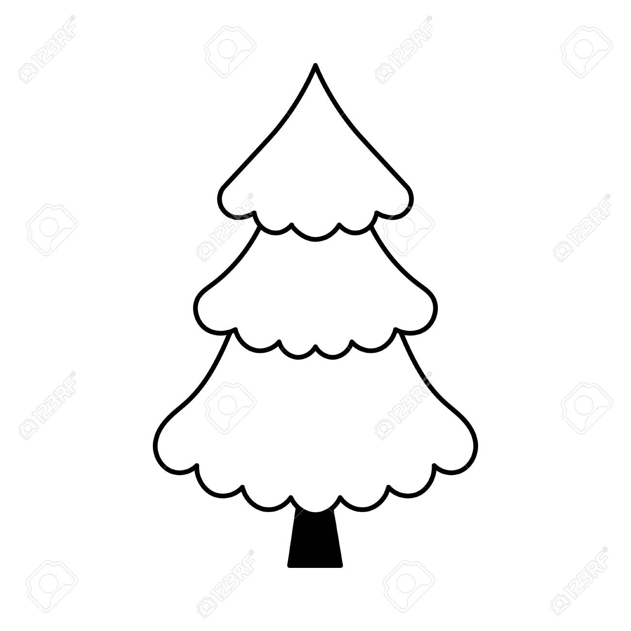 Simple Outline Style Christmas Tree Stylized Elements For New Royalty Free Cliparts Vectors And Stock Illustration Image 153497625