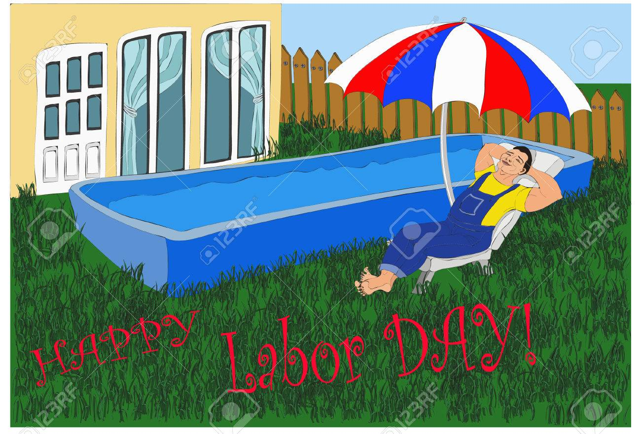 Entspannende Glückliche Arbeiter Schläft Im Liegestuhl In Der Nähe Von  Seinem Swimmingpool Und Sein Haus Unter