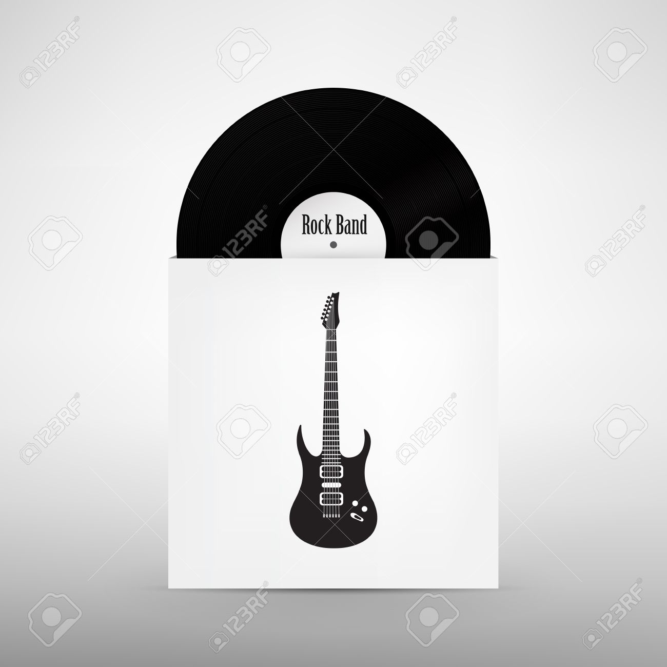 rock band design template guitar music vinyl record with cover