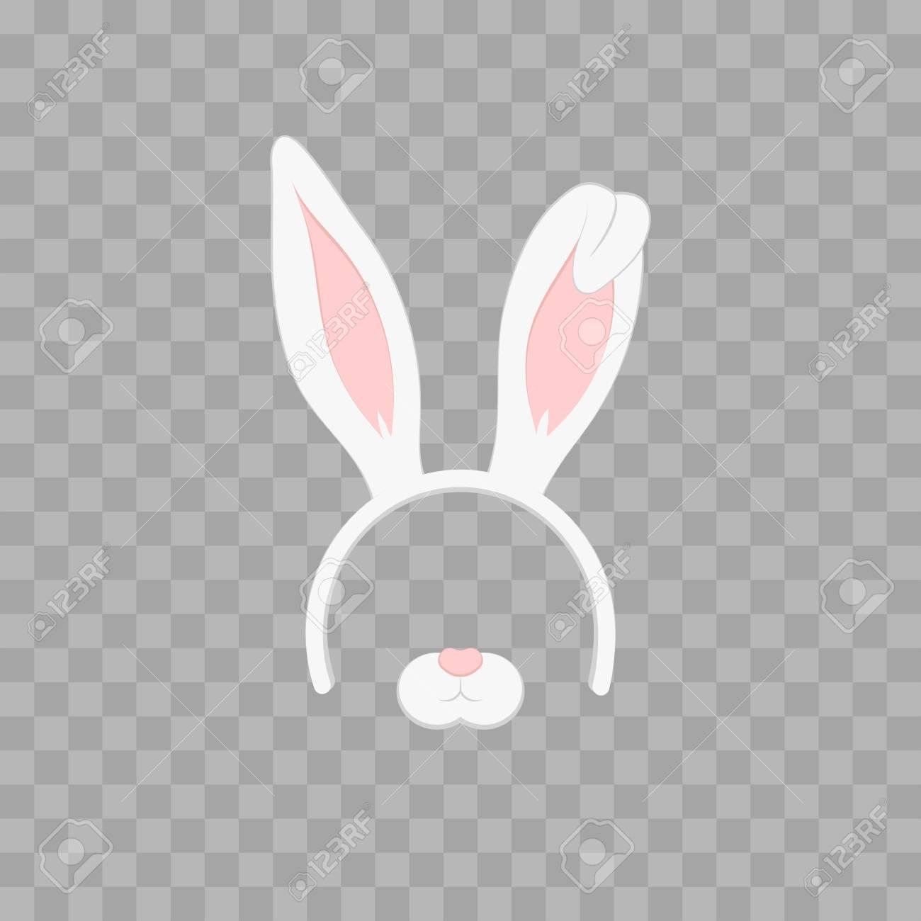 ウサギの耳透明で分離されたイースター マスク チェック模様ベクトル