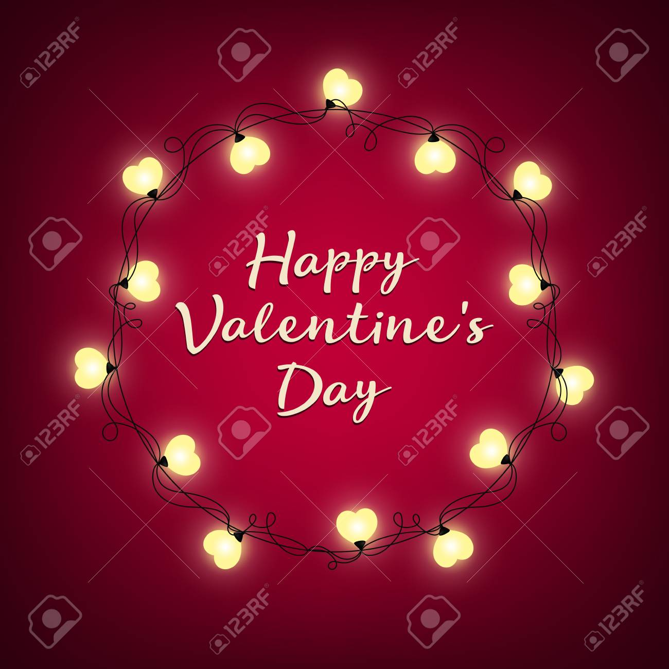 Valentines Day Background Vector Retro Light Sign Heart Shape