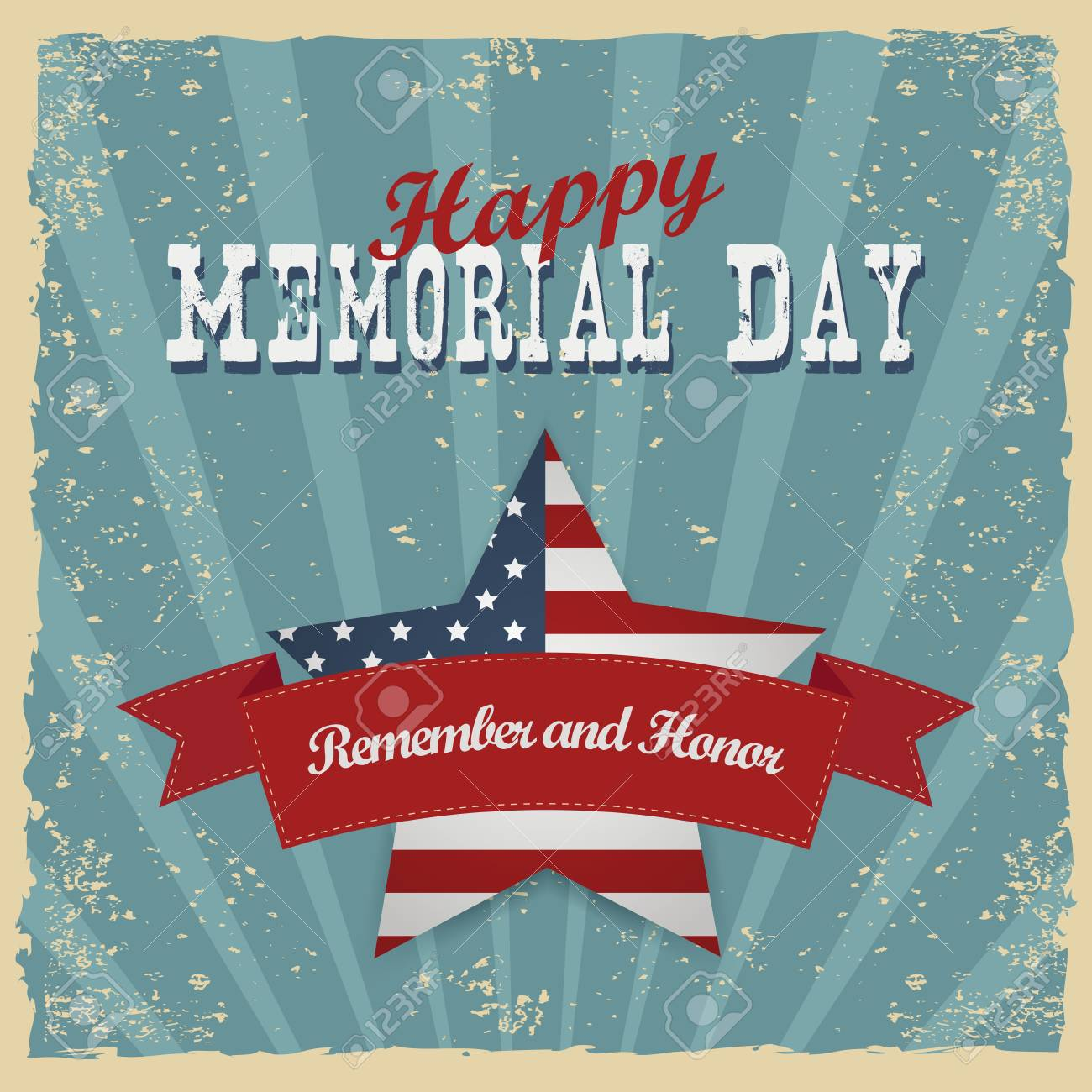 Memorial Day, Remember And Honor. Greeting Card. Hand-lettering ...