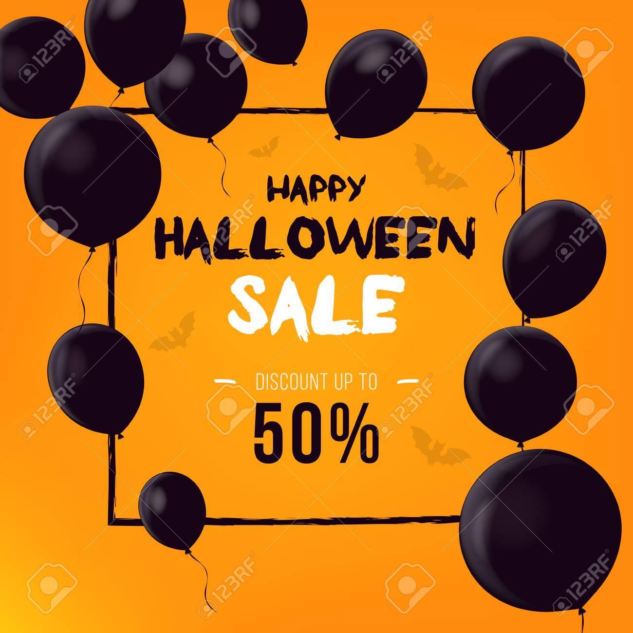 halloween backdrop with black balloons sale banner template design stock vector 87209634