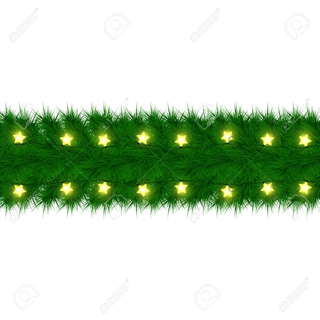 Christmas Garland Of Fir Branches Card Design Happy New Year