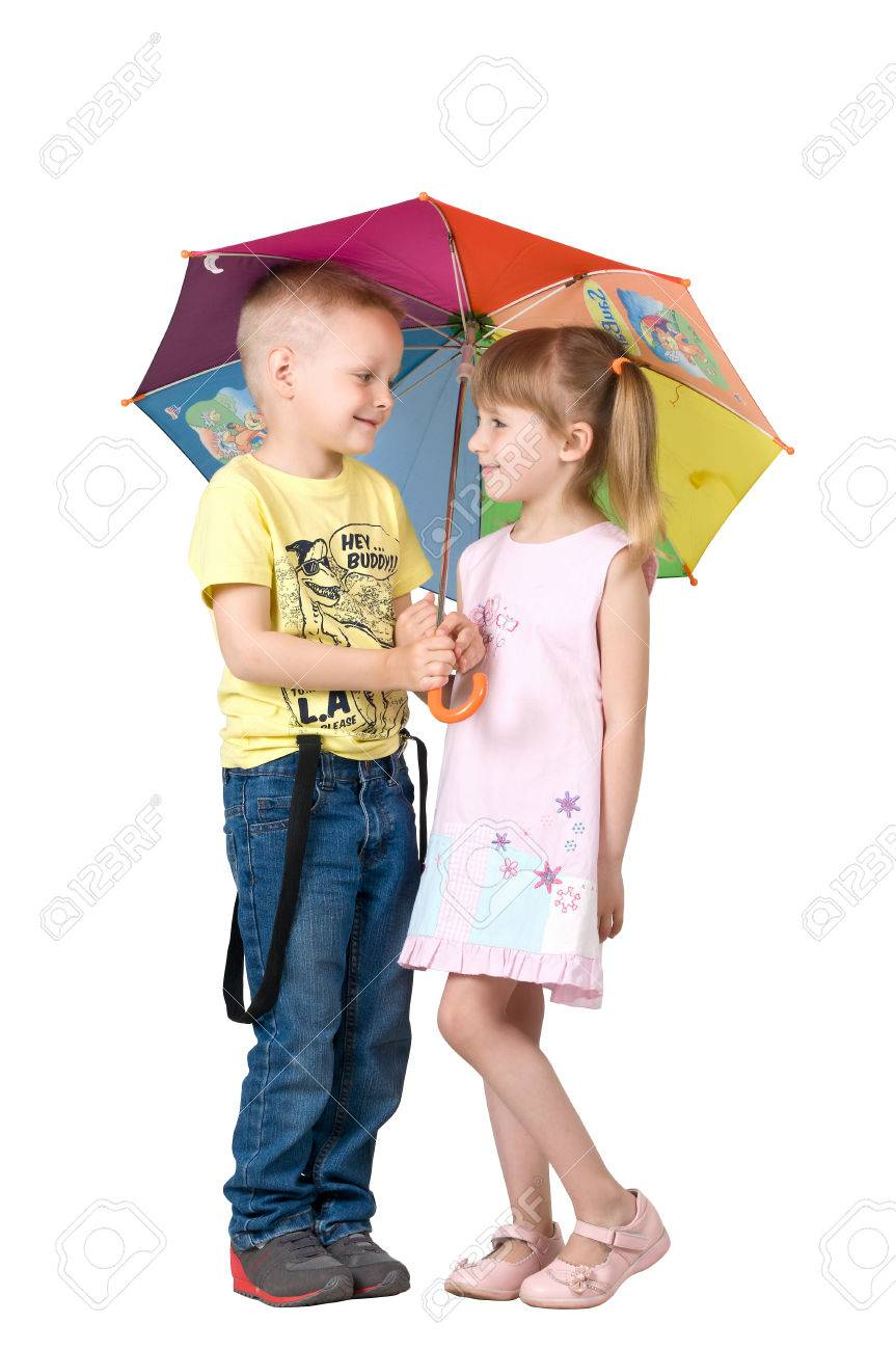 banque dimages fille et garon sous le parapluie color - Parapluie Color