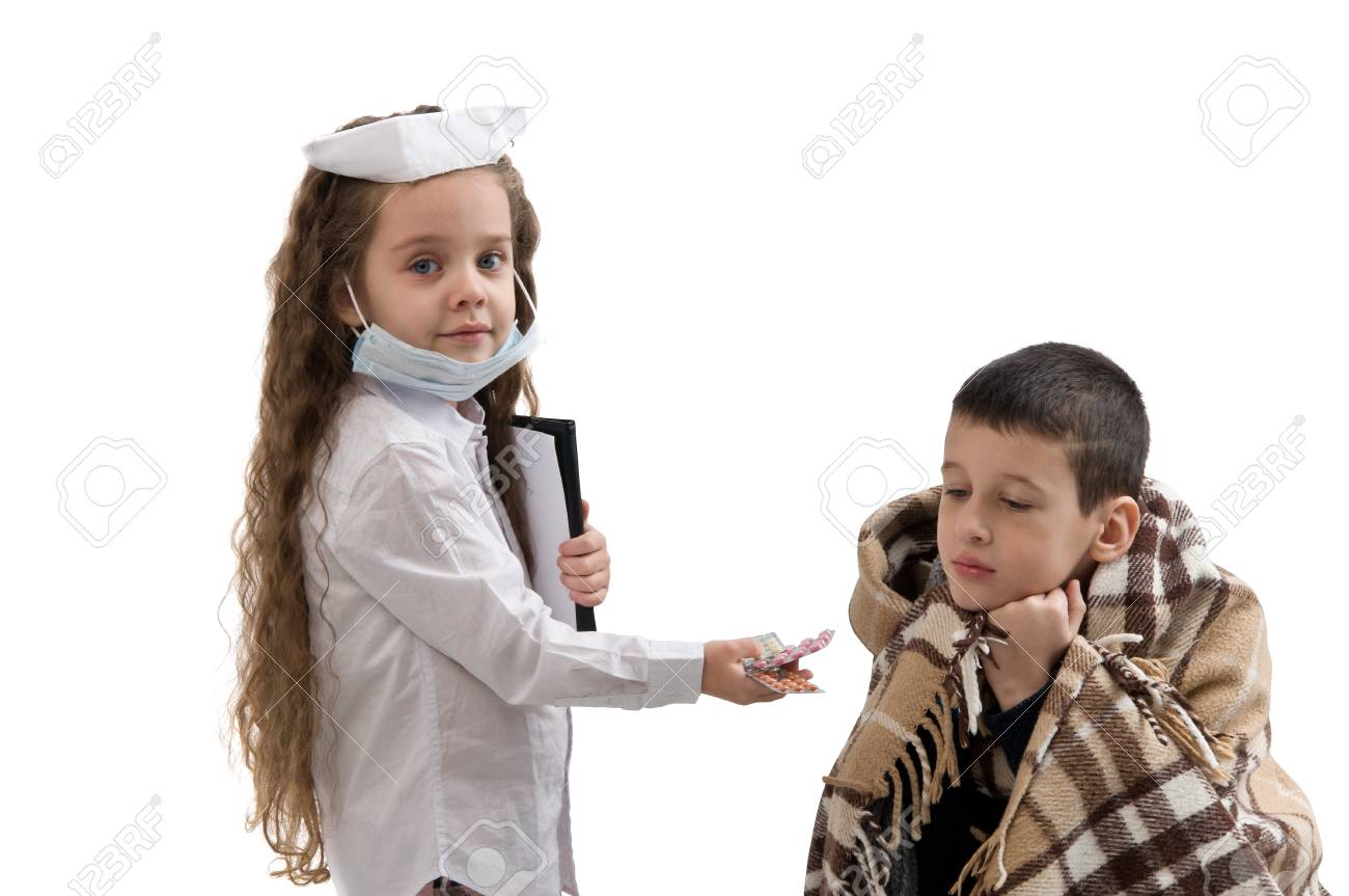 fe16d9d2eb2d4 Seasonal flu epidemic. little girl in nurse costume. Boy ill flu Stock  Photo -