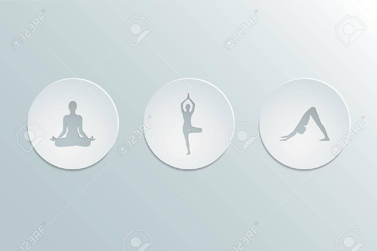 Conjunto de iconos de asanas de yoga. El diseño del recorte de papel. Diseño 93e817a1945f
