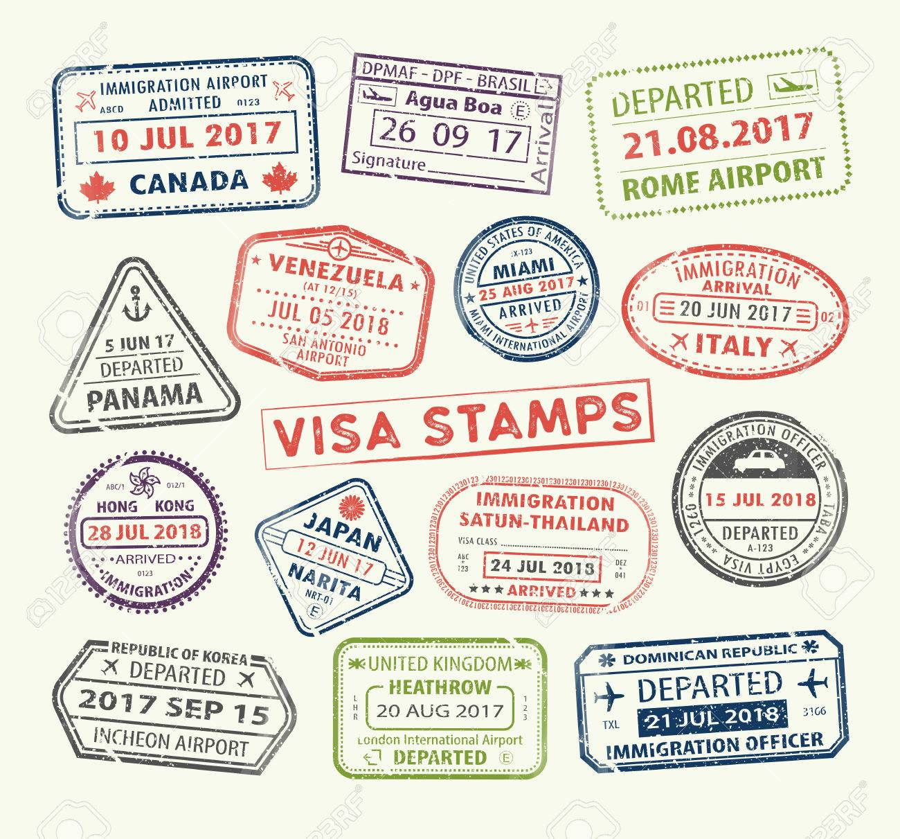 Isolated Set Of Visa Passport Stamp For Travel To Canada Or USA Uk China Venezuela Dominican Republic Japan Egypt Korea Brasil
