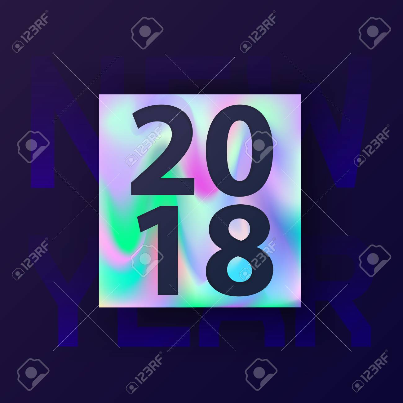 2018 new year card with holographic background modern concept cover design for hipster abstract