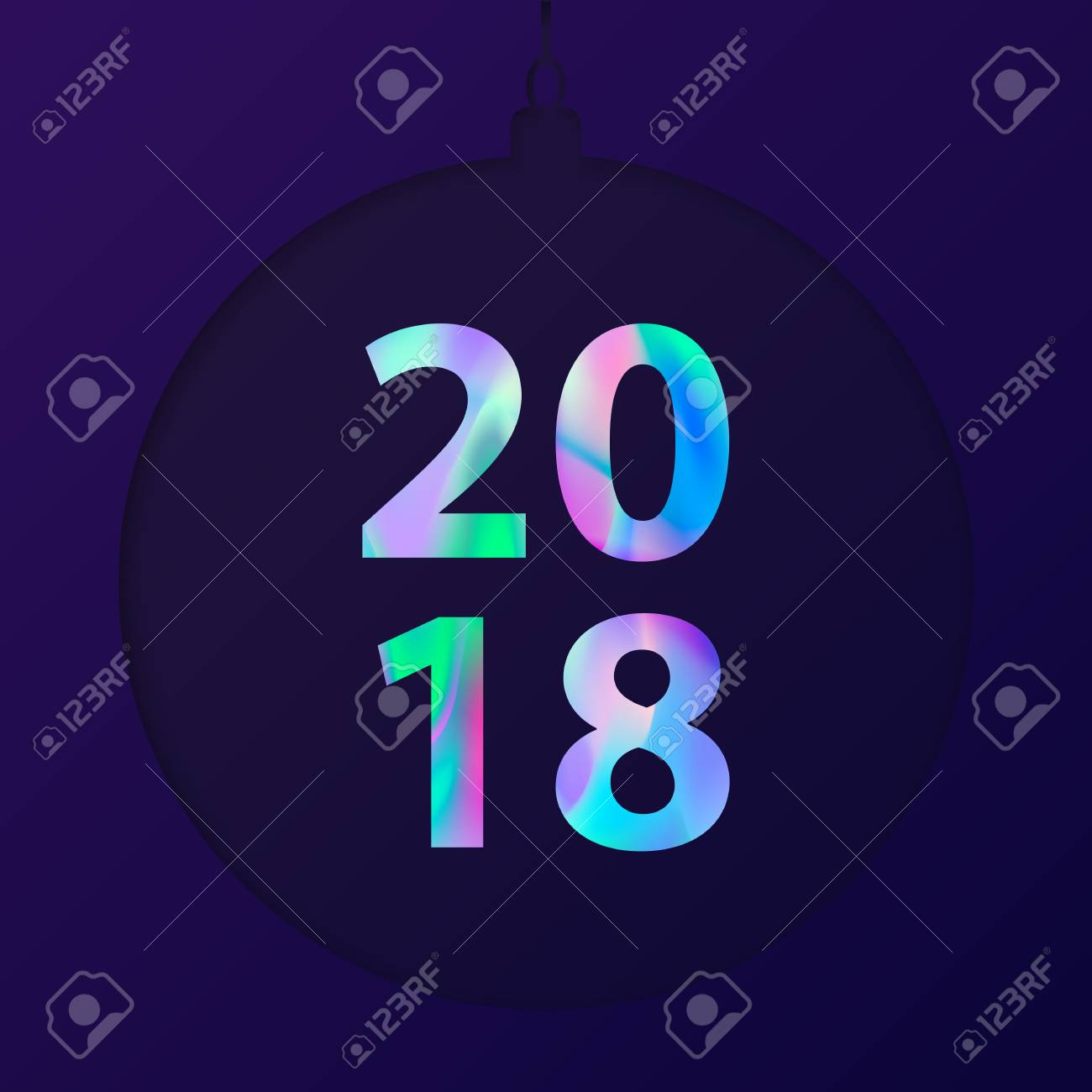 New year 2018 card in minimalist style greeting card with new year 2018 card in minimalist style greeting card with holographic effect material design kristyandbryce Gallery