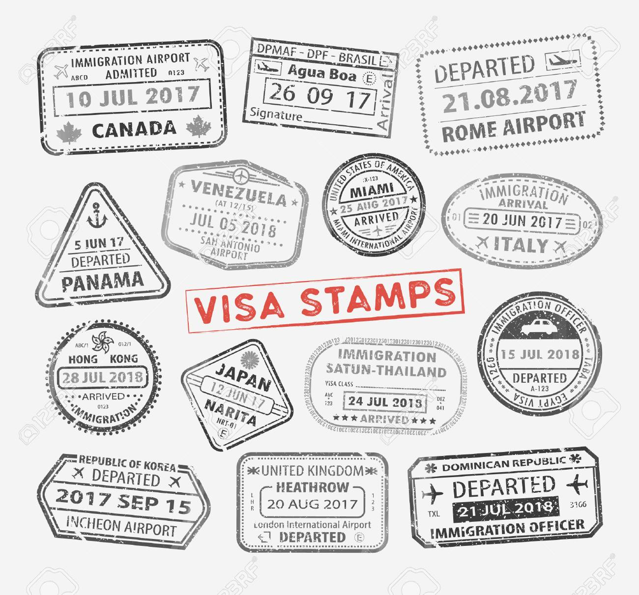 Isolated Set Of Visa Passport Stamp For Travel To Canada Or Usa Royalty Free Cliparts Vectors And Stock Illustration Image 121646175