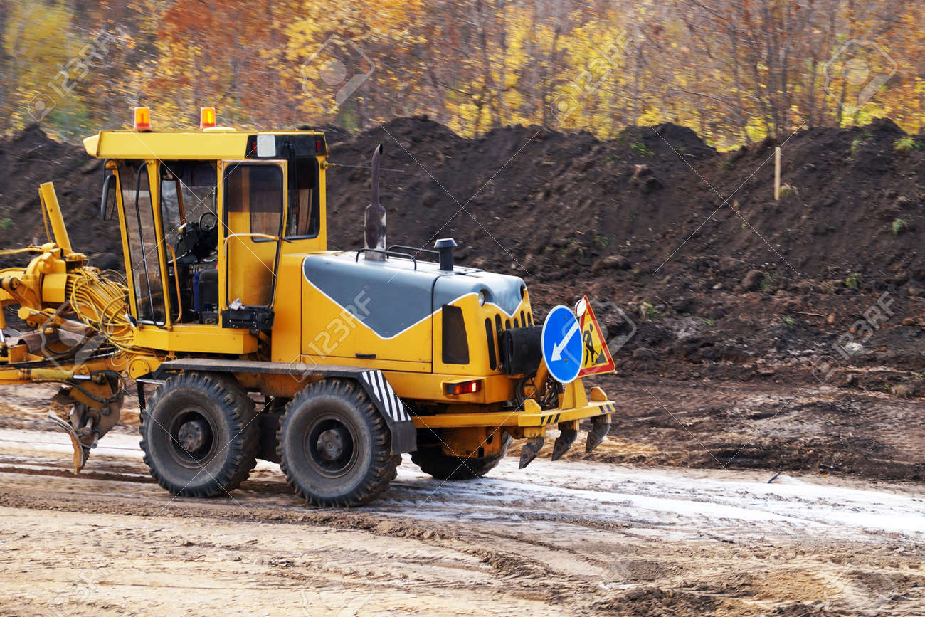 small bulldozer on a construction site close up - 158816117