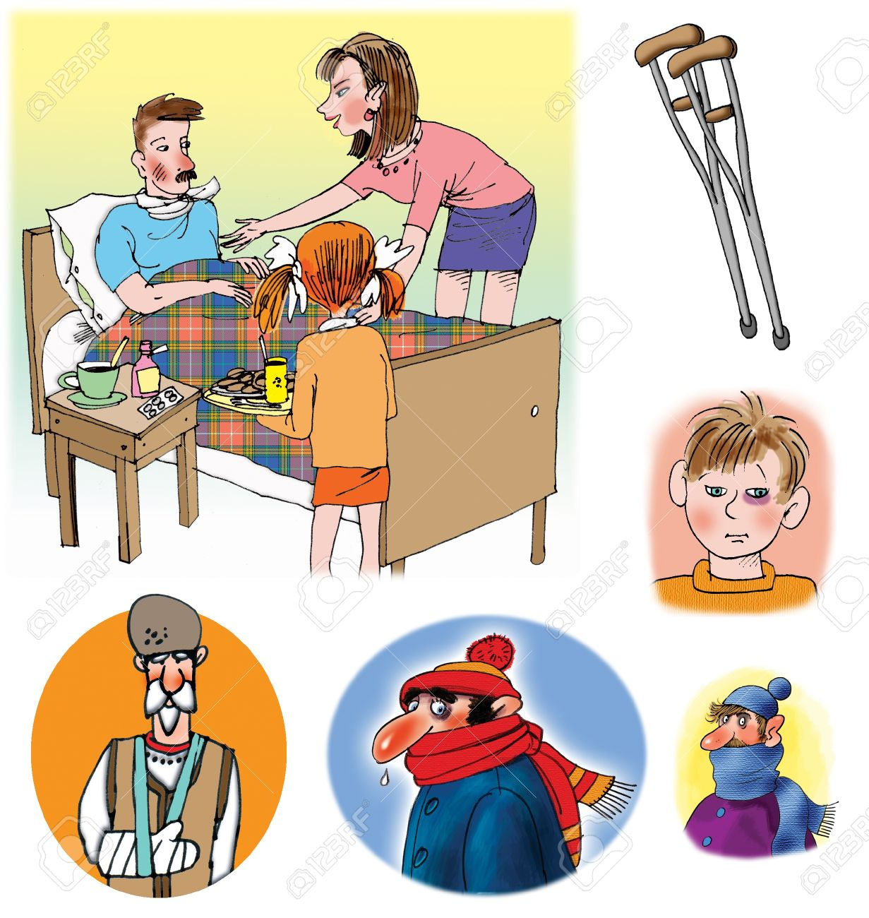 Some Raster illustrations about healthcare and medicine, illness and doctors Stock Illustration - 8543458