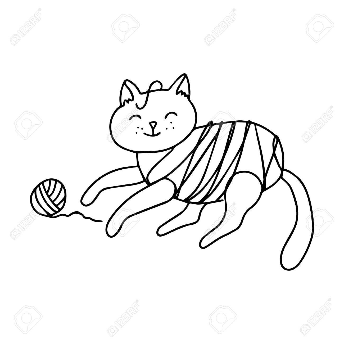 A Yarn Tangled Cat Is Playing With The Clew Hand Drawn Vector Royalty Free Cliparts Vectors And Stock Illustration Image 144872277