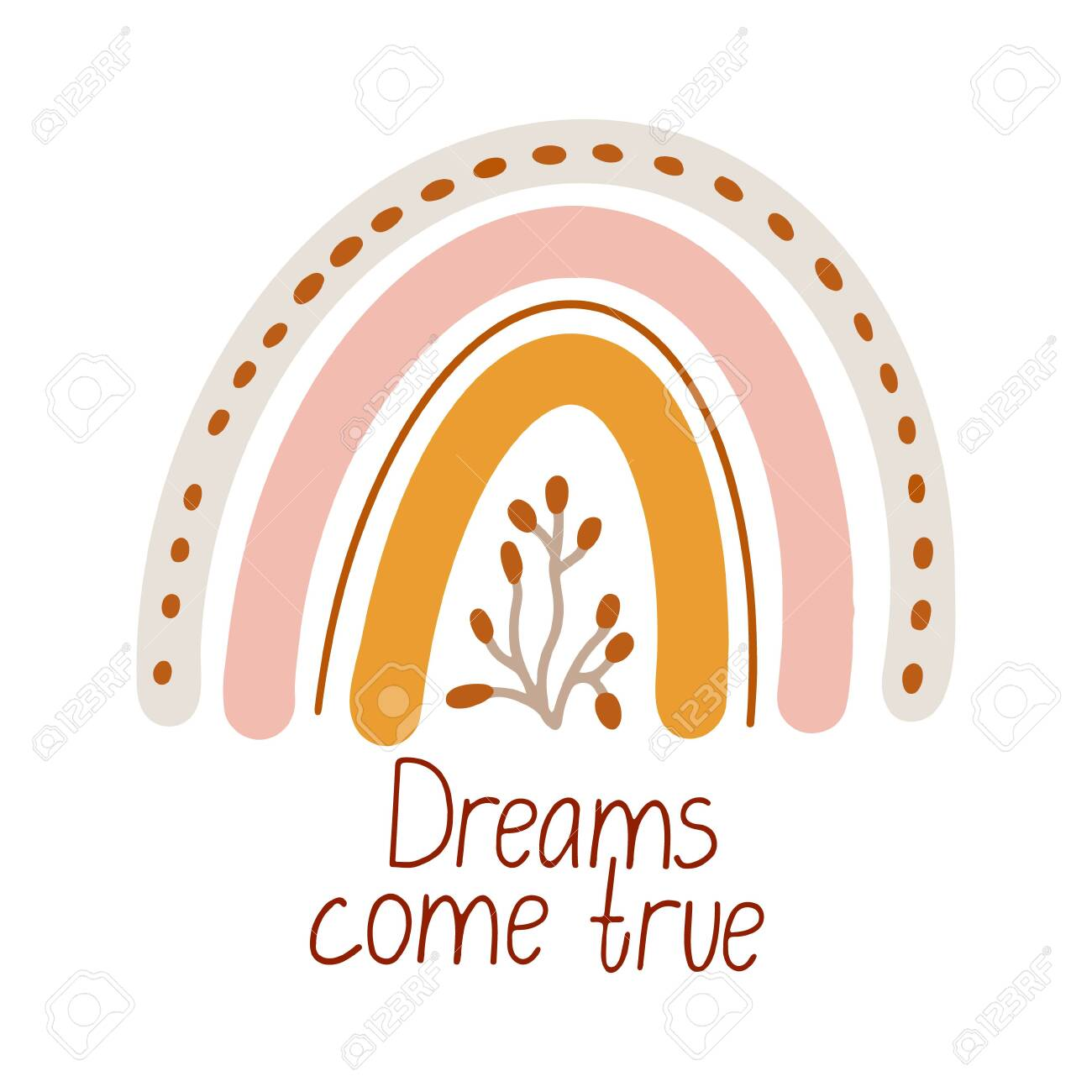 Cute vector poster with boho rainbow decorated with a sprig. Dreams come true lettering. Great for kids playroom or bedroom decoration. Hand drawn illustration isolated on white. Muted colors. - 154995650