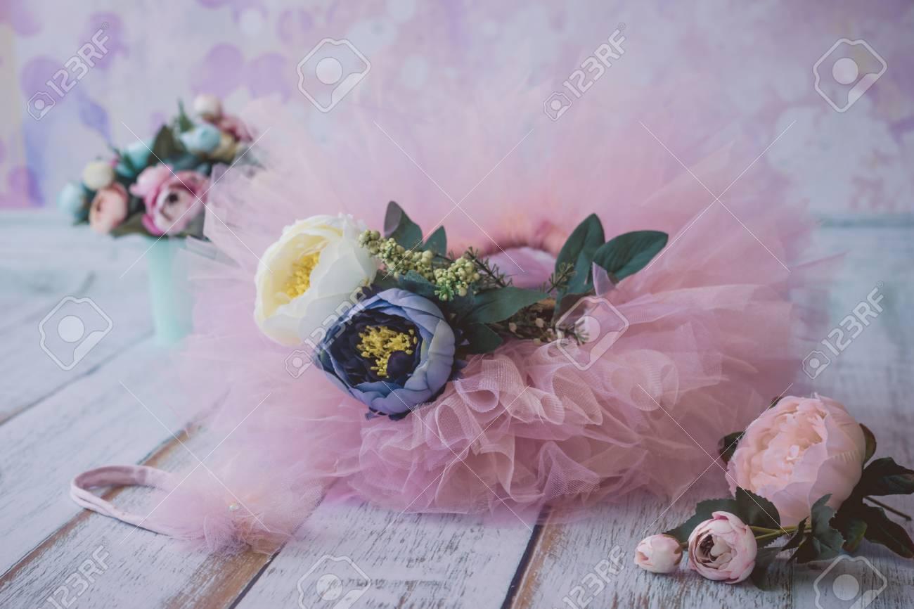 Roze tu tu rok voor pasgeboren baby s en hoofdband met nep bloemen