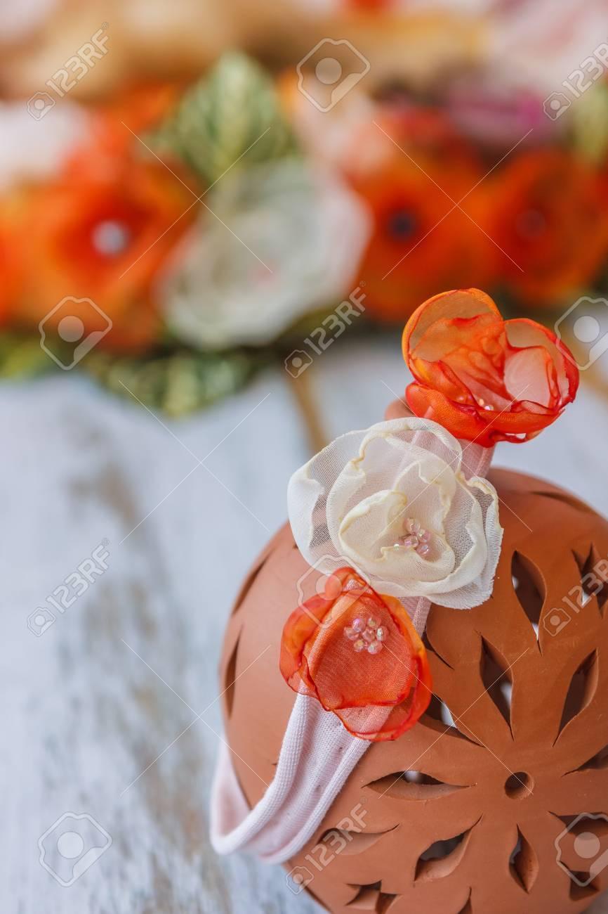 Handmade Headband With Fake Flowers For Newborn Babies Hanging ...