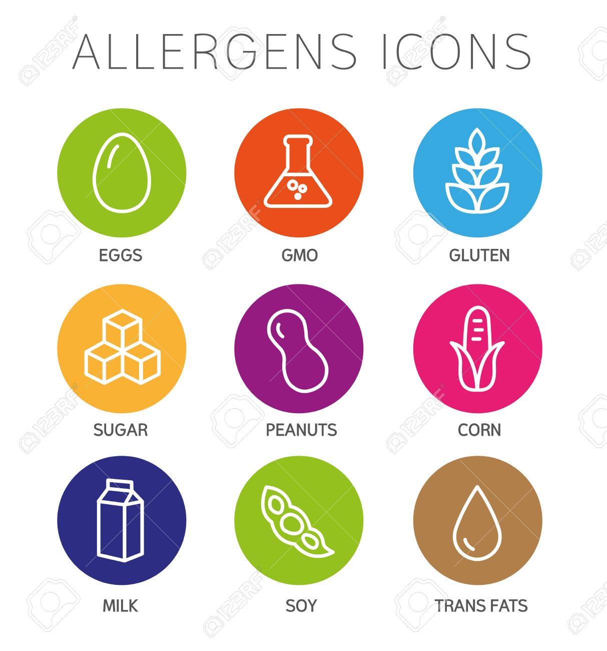 Set of food labels - allergens, GMO free products. - 50371777