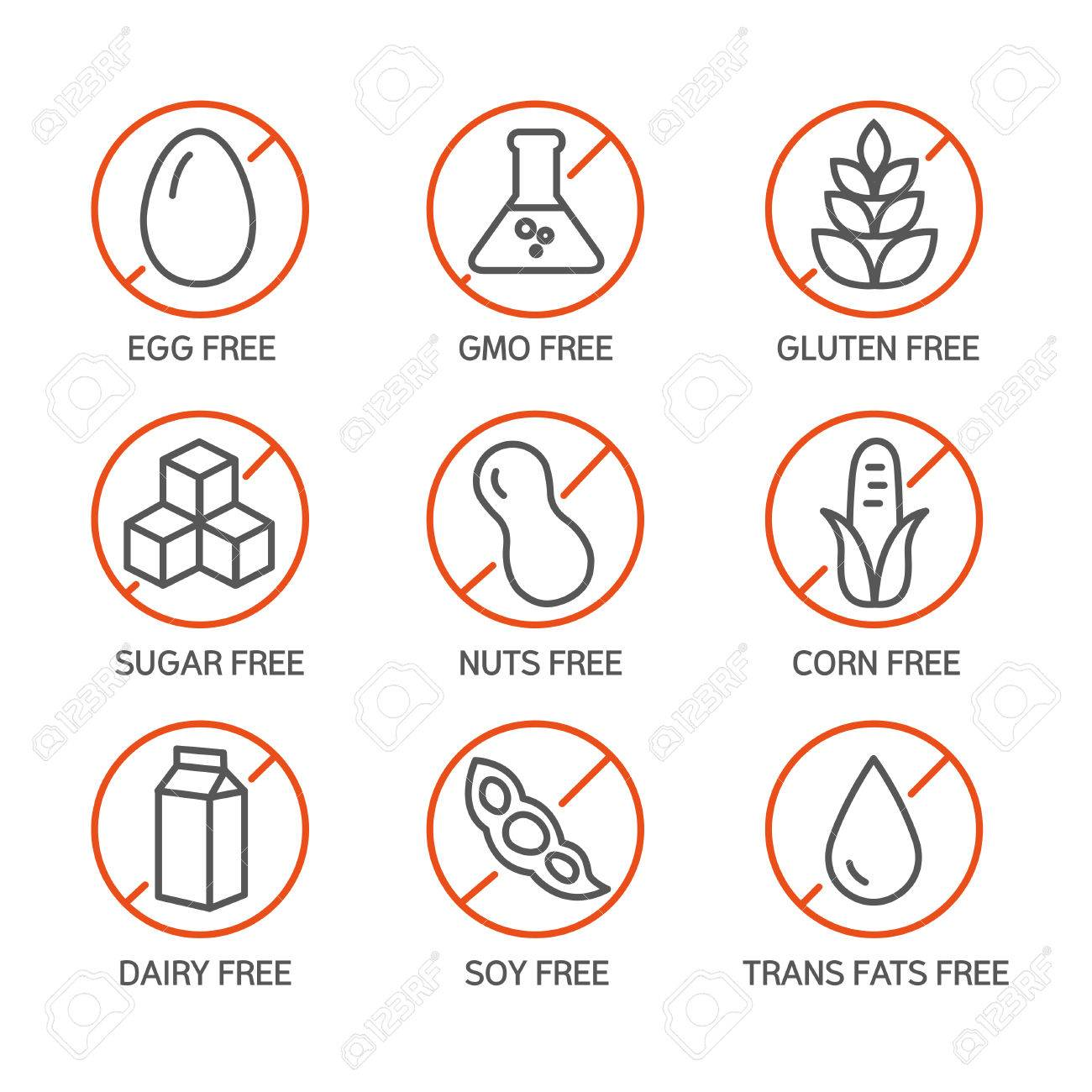 Set of food labels - allergens, GMO free products. - 50371776